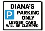 DIANA'S Personalised Parking Sign Gift | Unique Car Present for Her |  Size Large - Metal faced